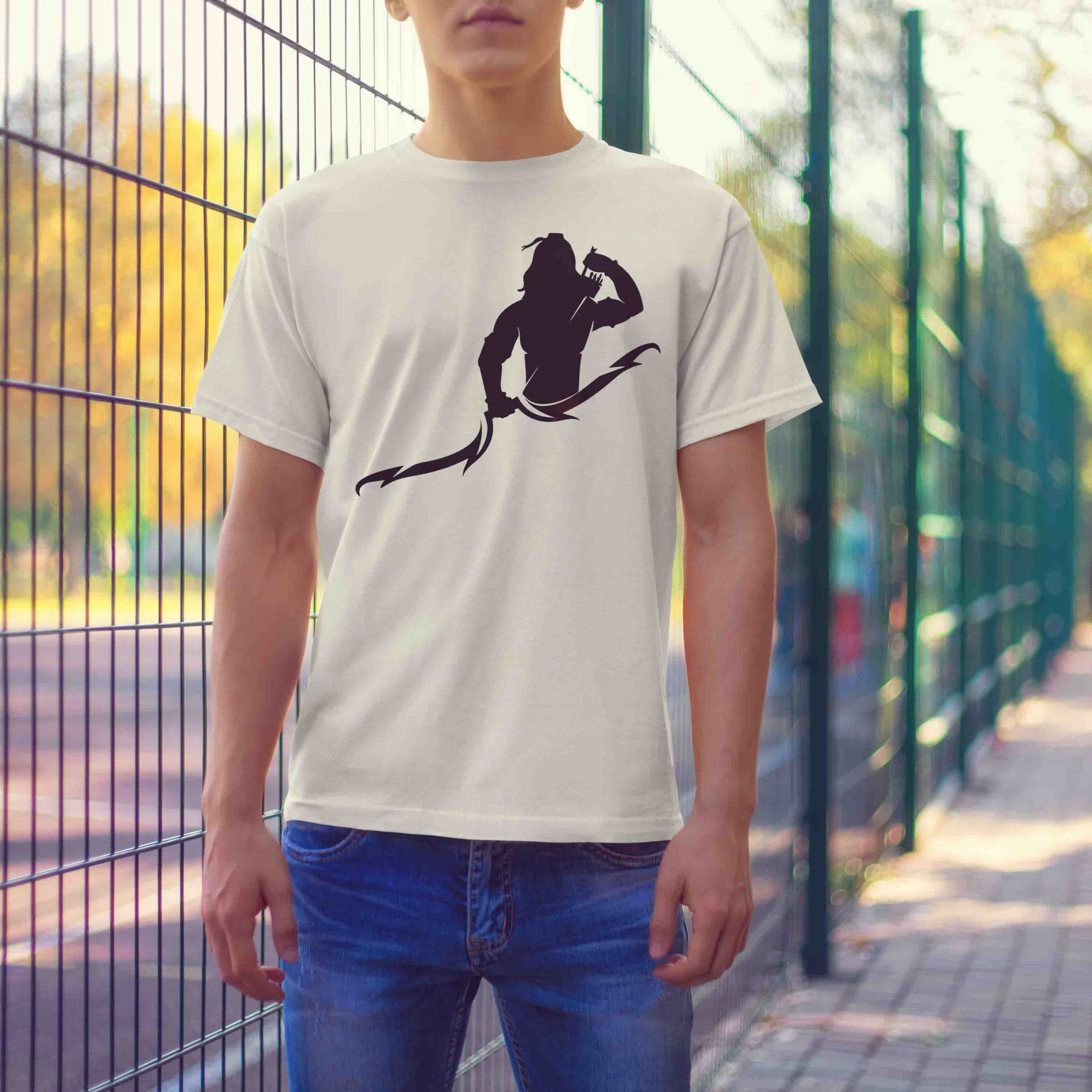 Lord Ram Black Sketch round neck t shirt for men