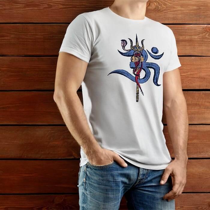 Lord Shiva Trishul with OM men t shirt