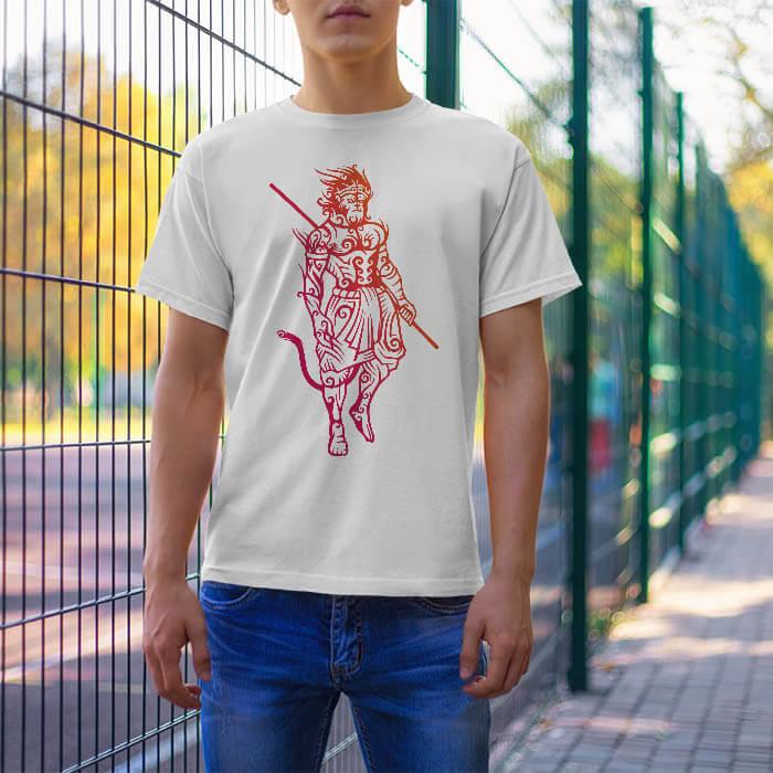 Monkey Style Hanumam white t shirt for men