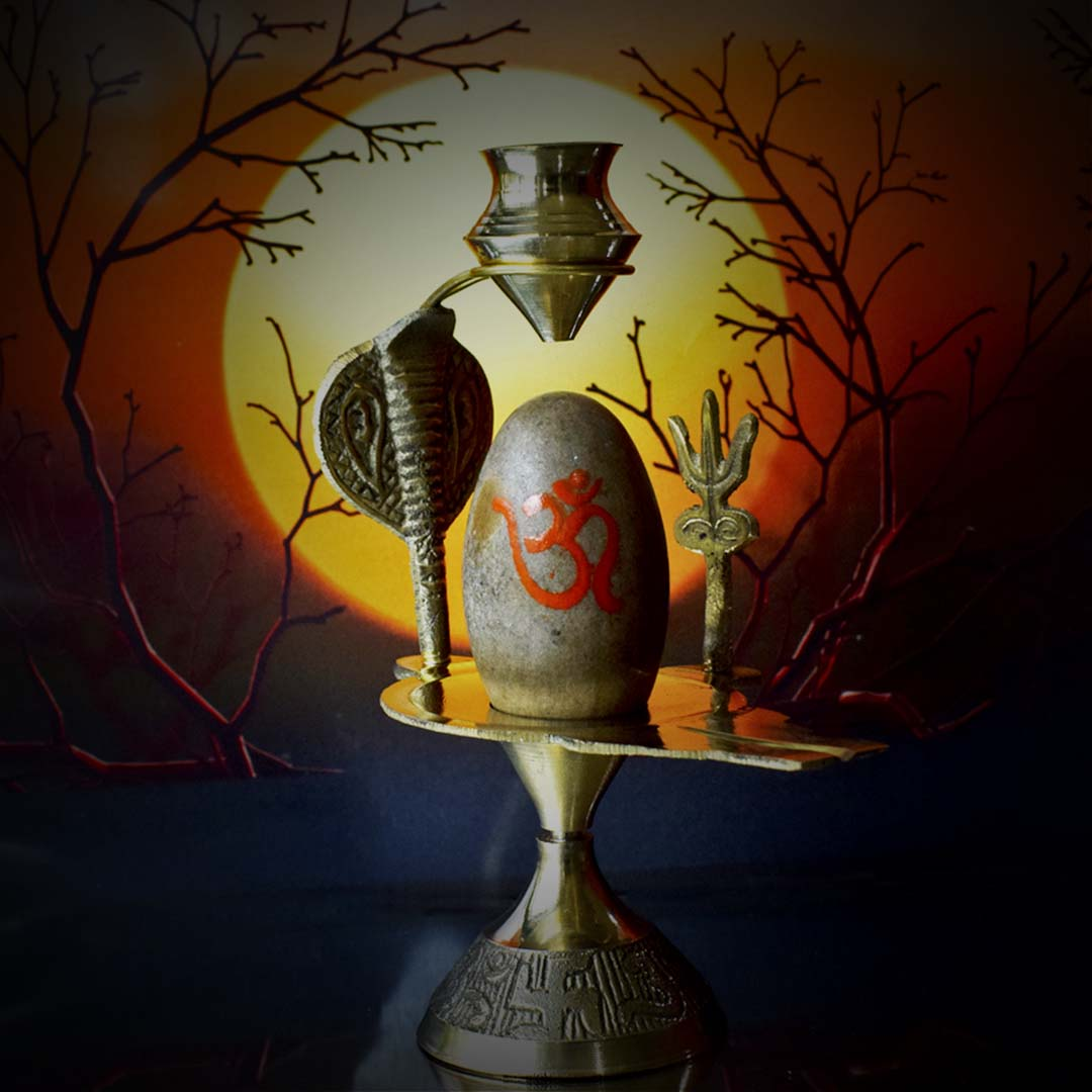 Narmadeshwar Shivling Brass Base With Trishul Kalash