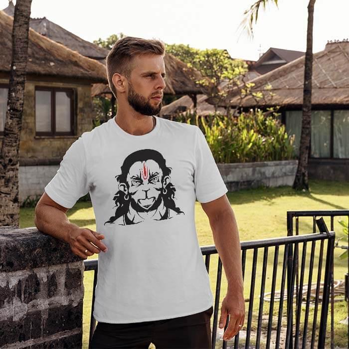 Rudra Hanuman Sketch white t shirt for men