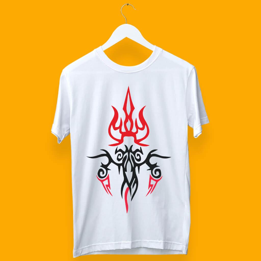 Unique Street Style Trishul Printed T-Shirt