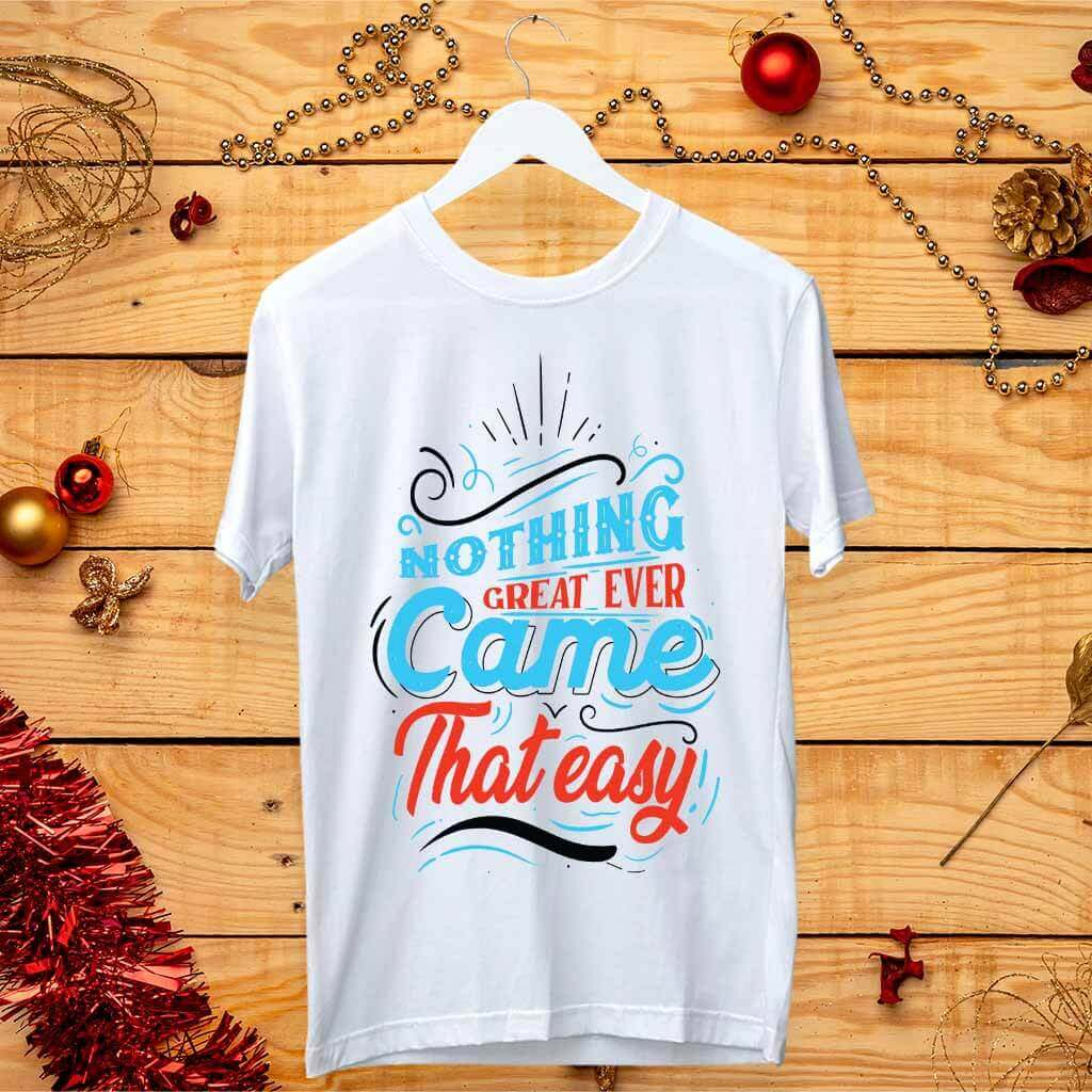 Blue Quote Stylish Art Design Printed T-Shirt | Prabhu Bhakti