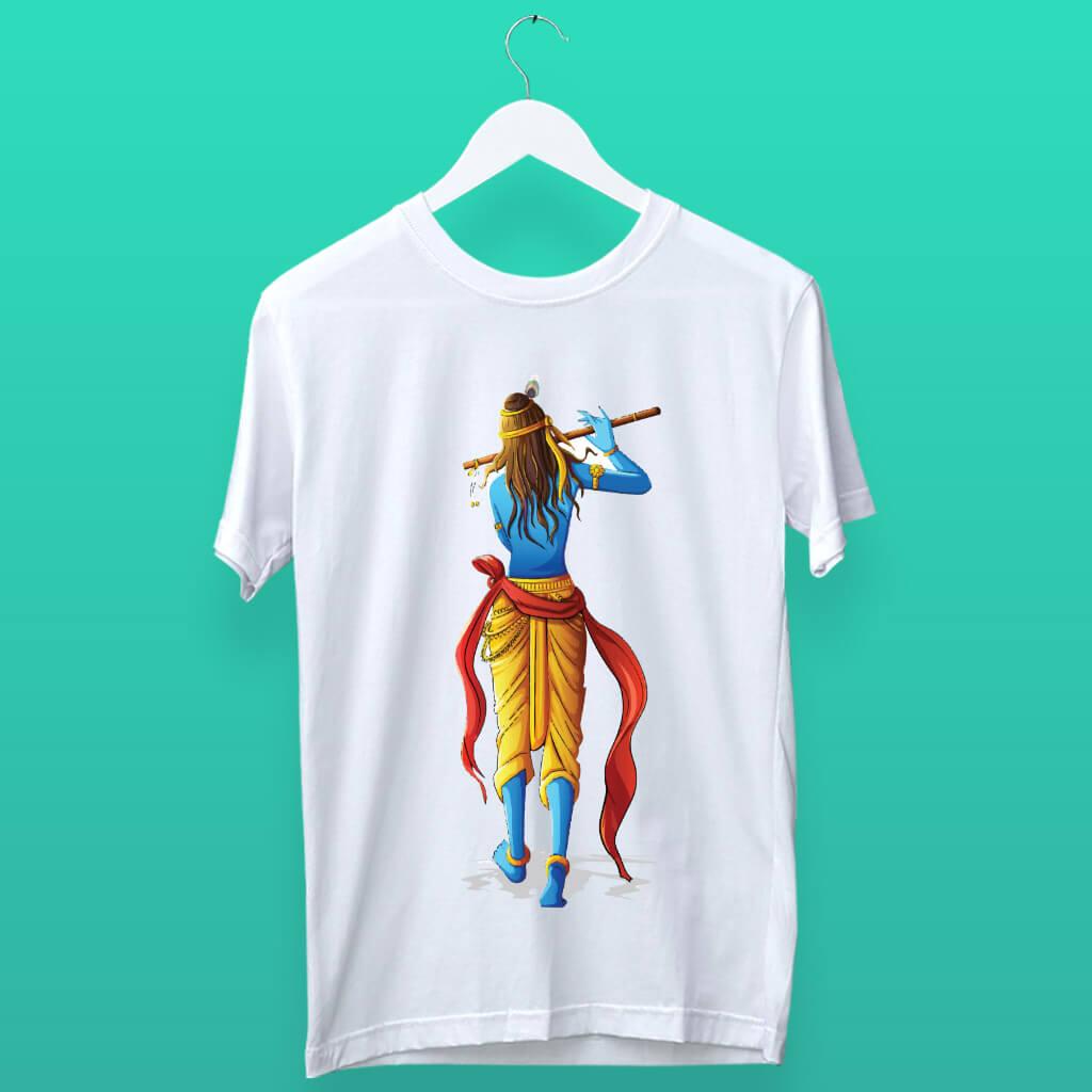 Elegant Lord Krishna Playing Flute Design T shirt | Prabhu Bhakti