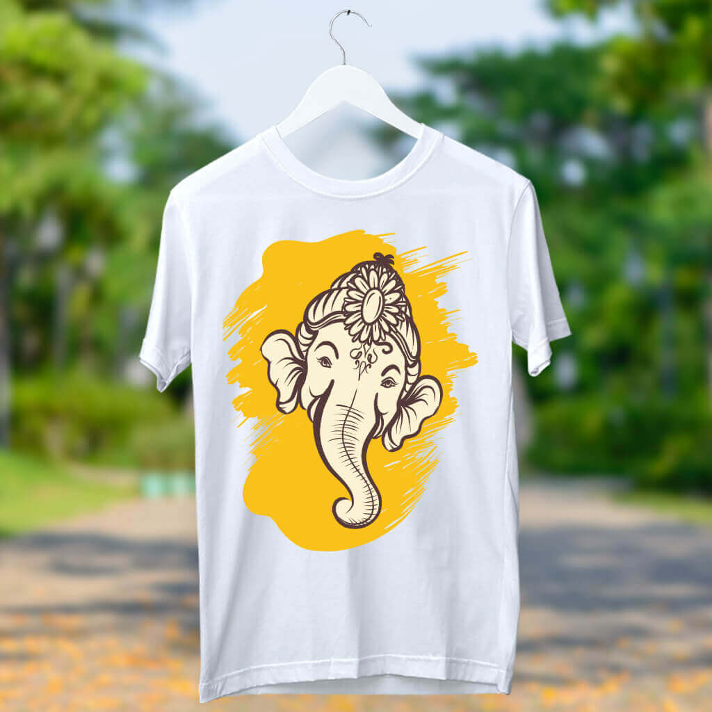 Yellow Ganesha Stylish Art Design Printed T-Shirt | Prabhu Bhakti