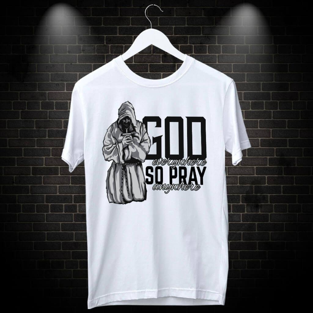 Pray Stylish Art Design Printed T-Shirt | Prabhu Bhakti