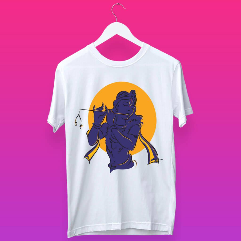 Krishna Shadow Unique Stylish Design Printed T-Shirt