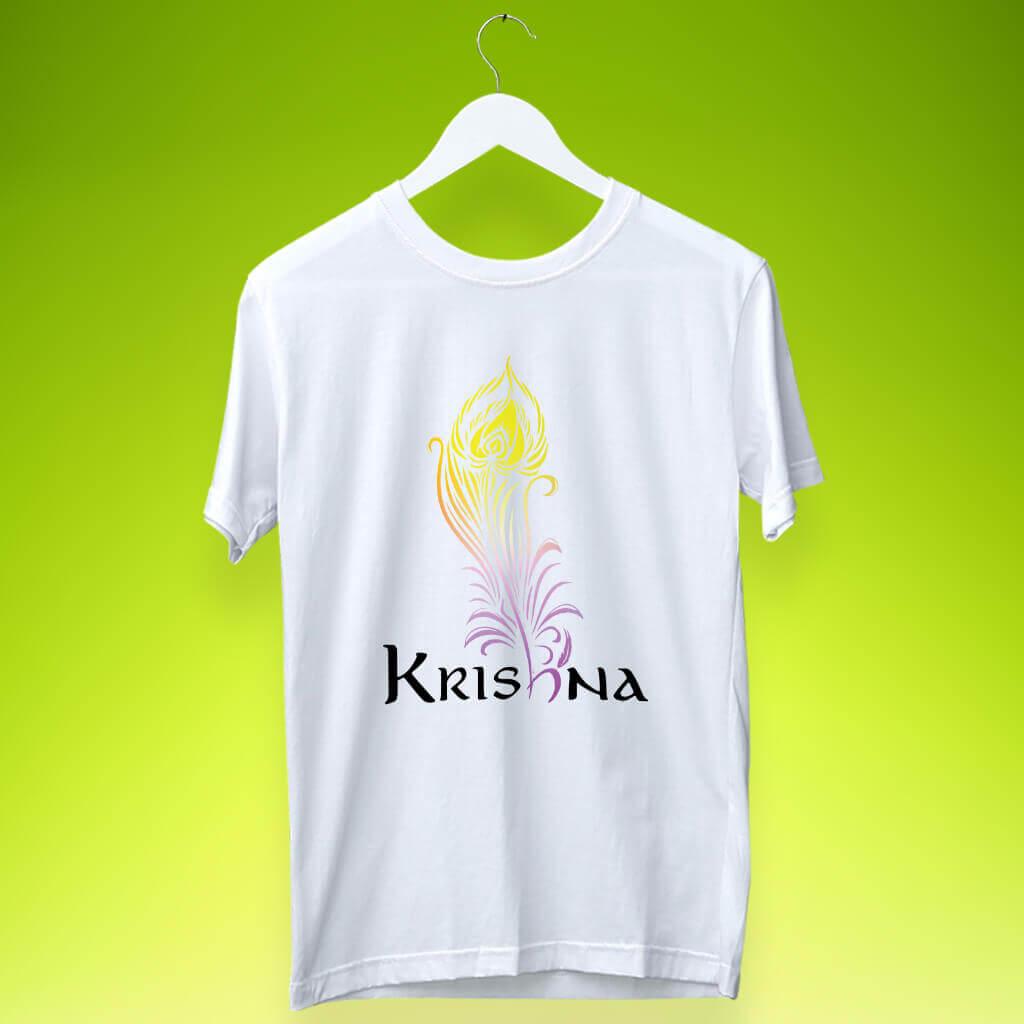 Krishna Attractive Stylish Art Design Printed T-Shirt   Prabhu Bhakti