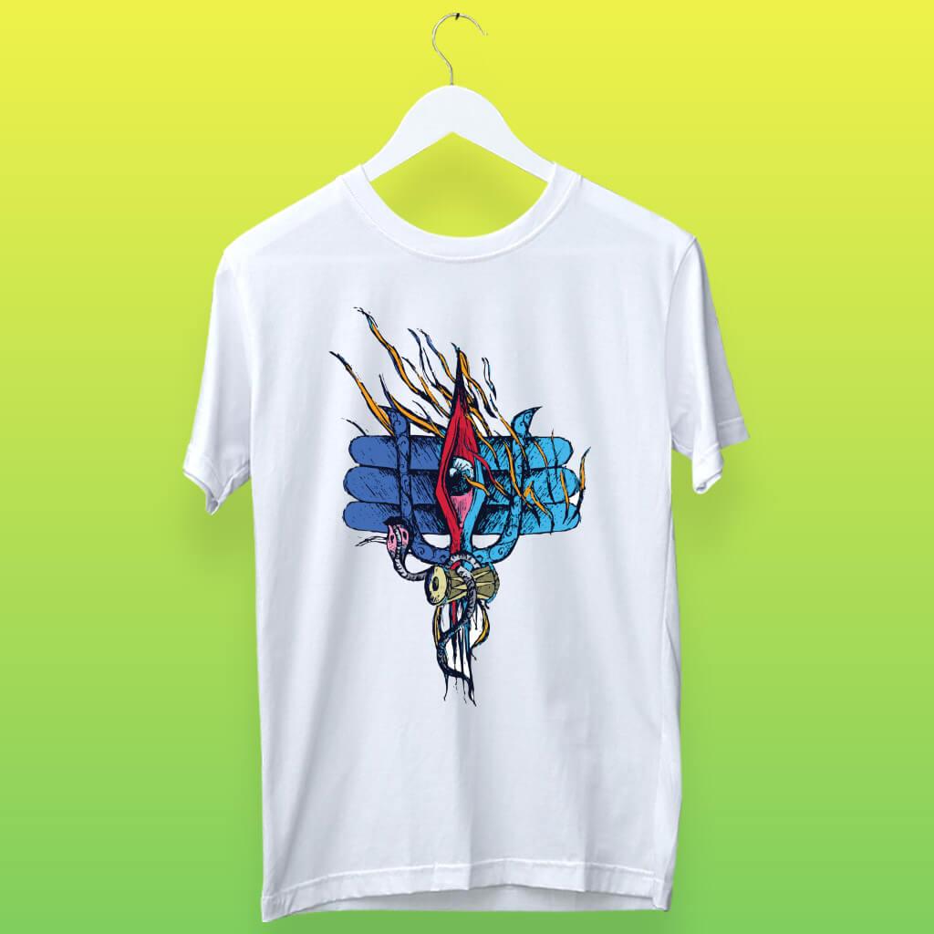 lord shiva third eye printed tshirt