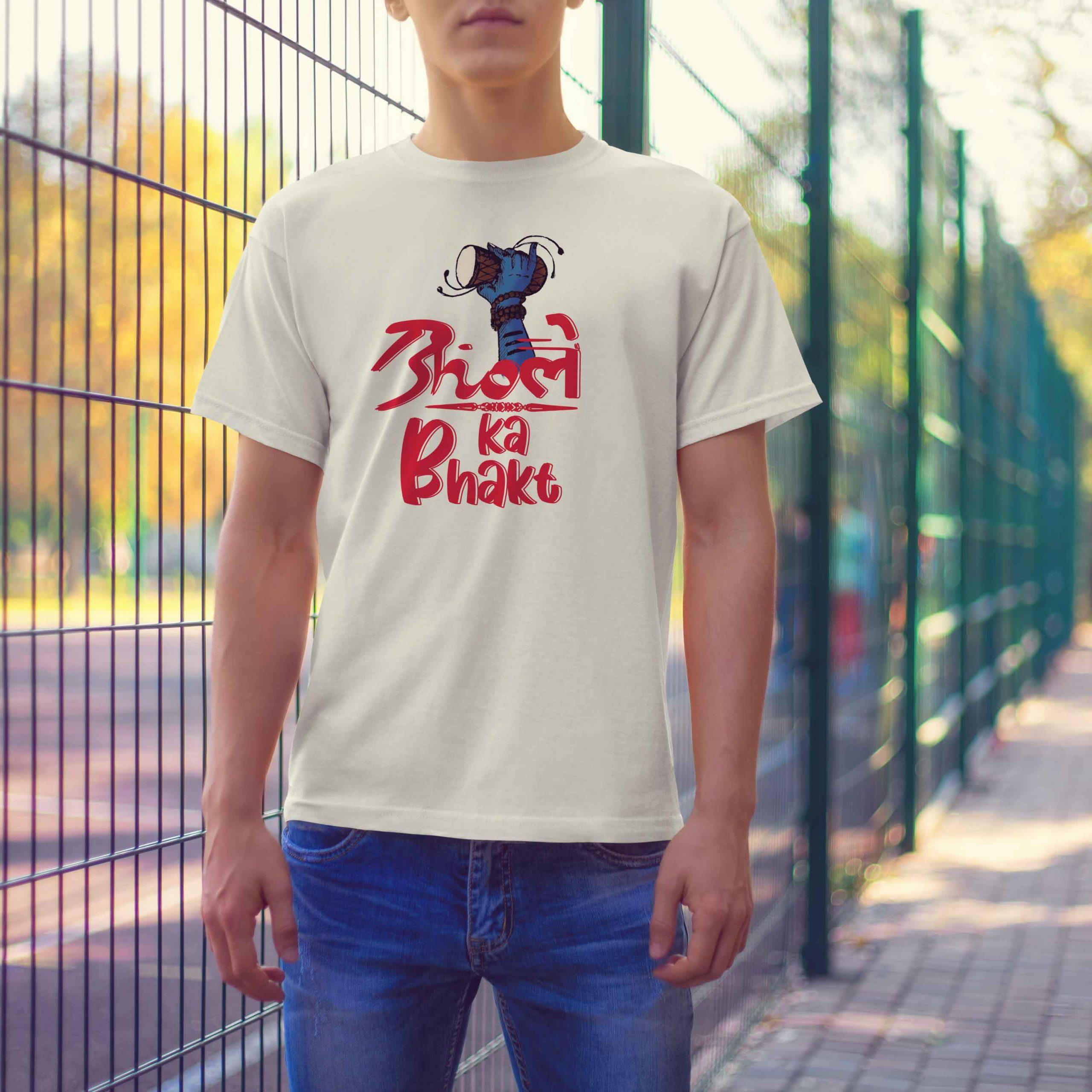 round neck t shirt with quotes of Bhole ka Bhakt