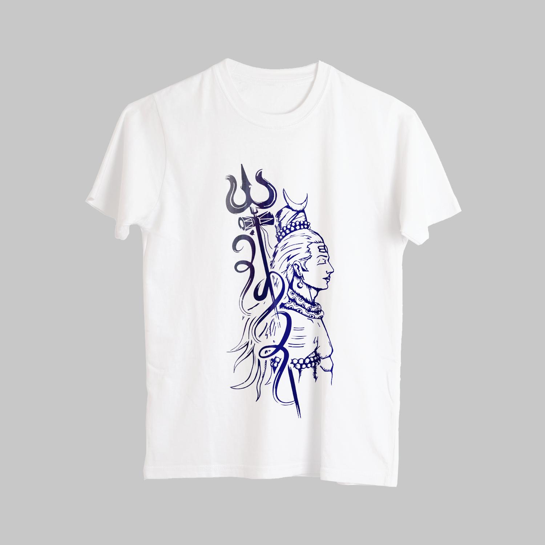 Unique Shiva Street Style Sketch Printed T-Shirt