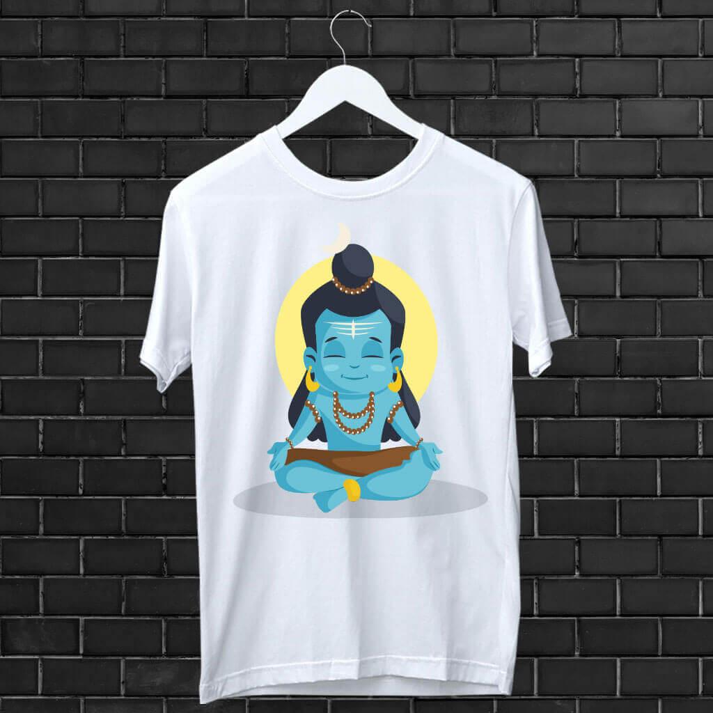 Shiv Blue Attractive Style Art Design Printed T-Shirt | Prabhu Bhakti