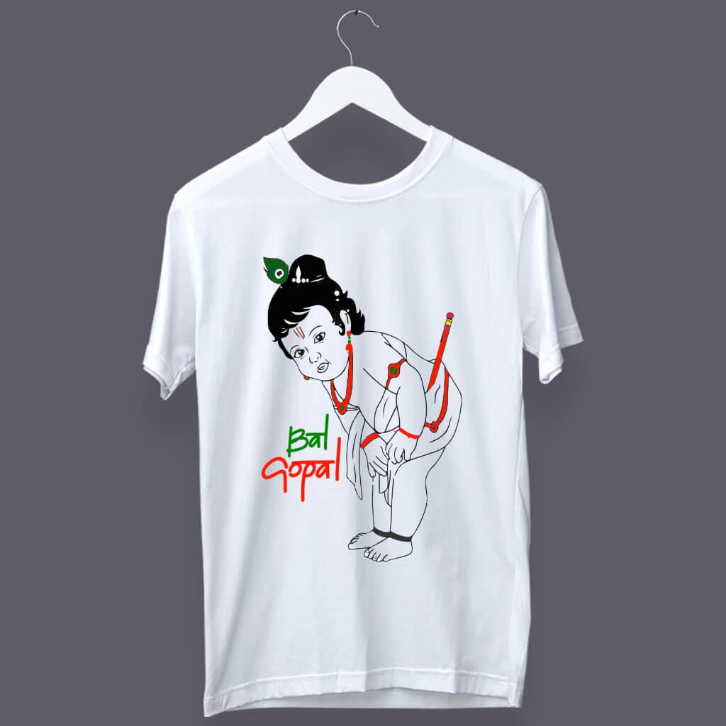 Bal Gopal Sketch Painting Round Neck T Shirt
