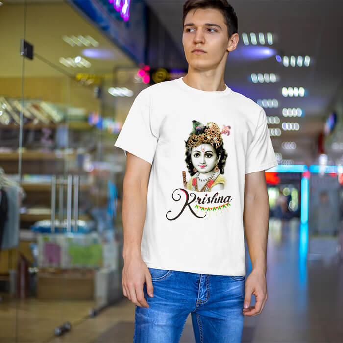 Beautiful photos Lord Krishna half sleeve t shirt for men