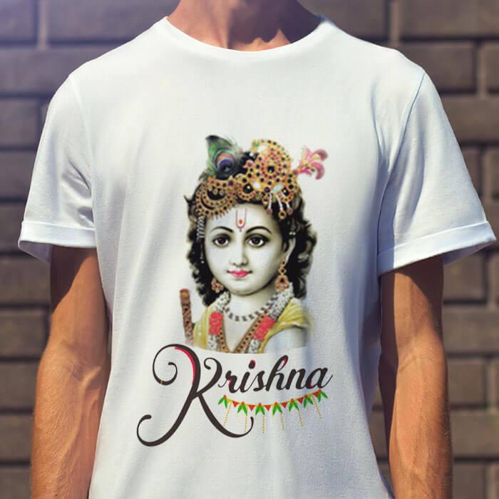 Beautiful photos Lord Krishna round neck t shirt for men