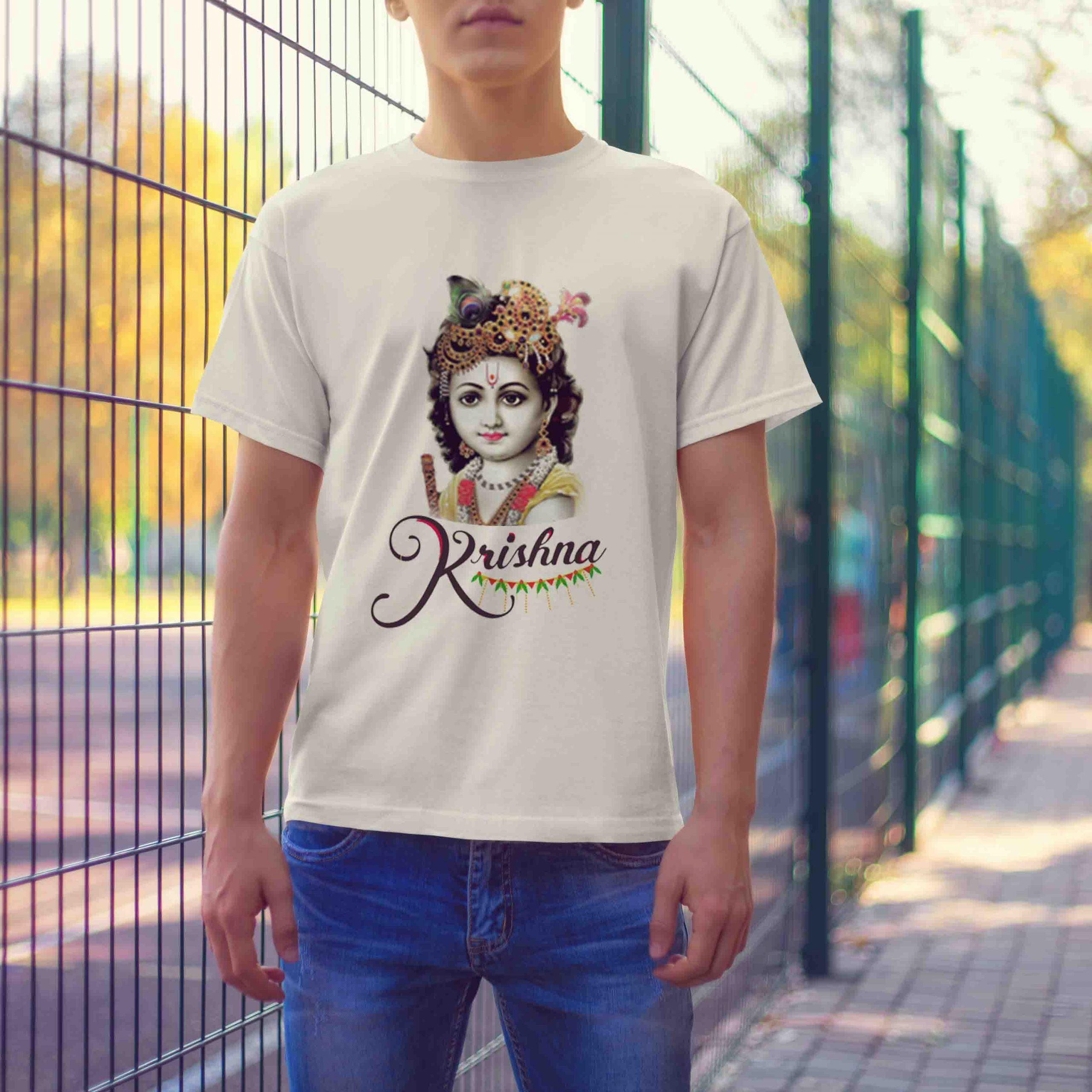 Beautiful photos Lord Krishna white t-shirt for men