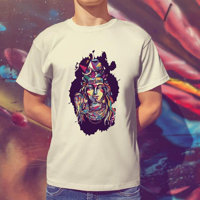 Best Shiva multicolor painting round neck white t shirt