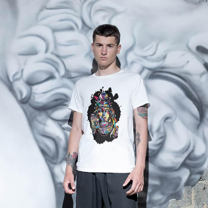 Best Shiva multicolor painting white plain t shirt