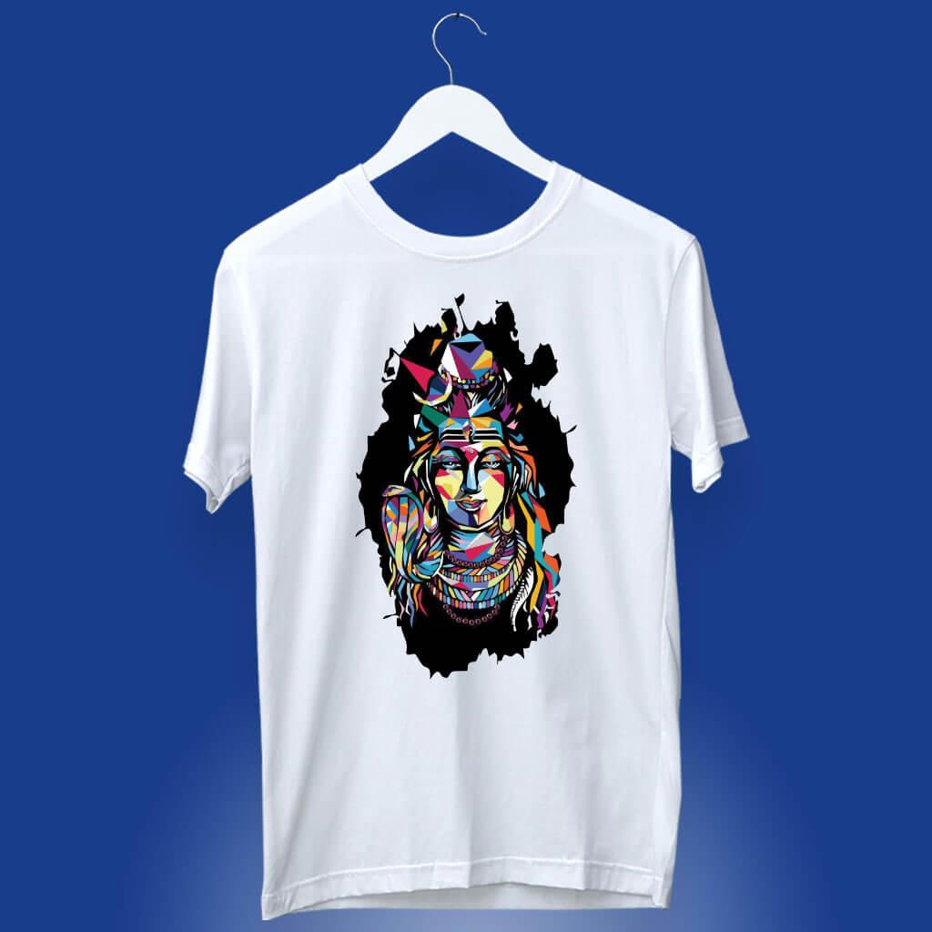 Best Shiva multicolor painting white t shirt