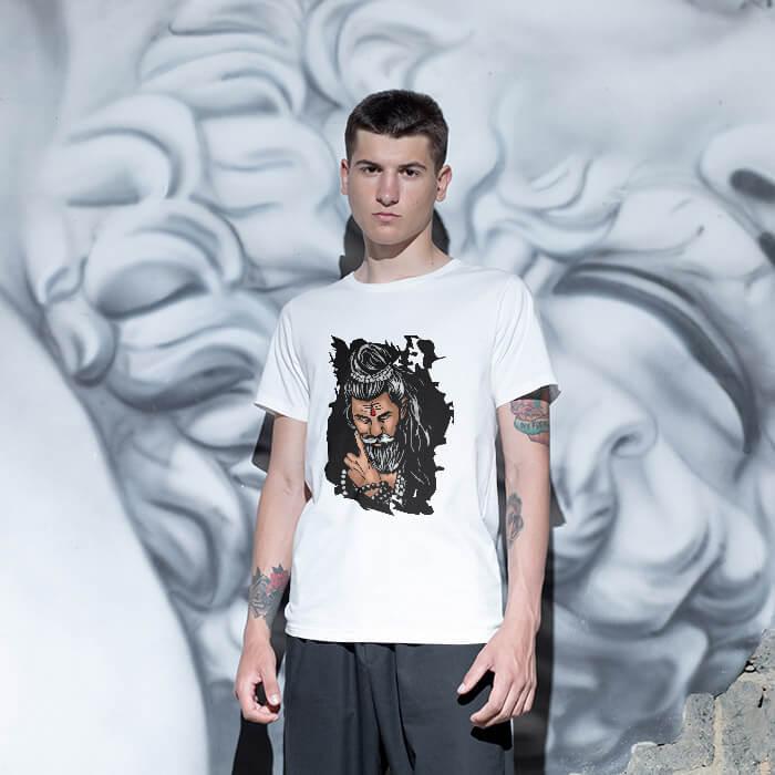 Best Shiva sketch printed white plain t shirt
