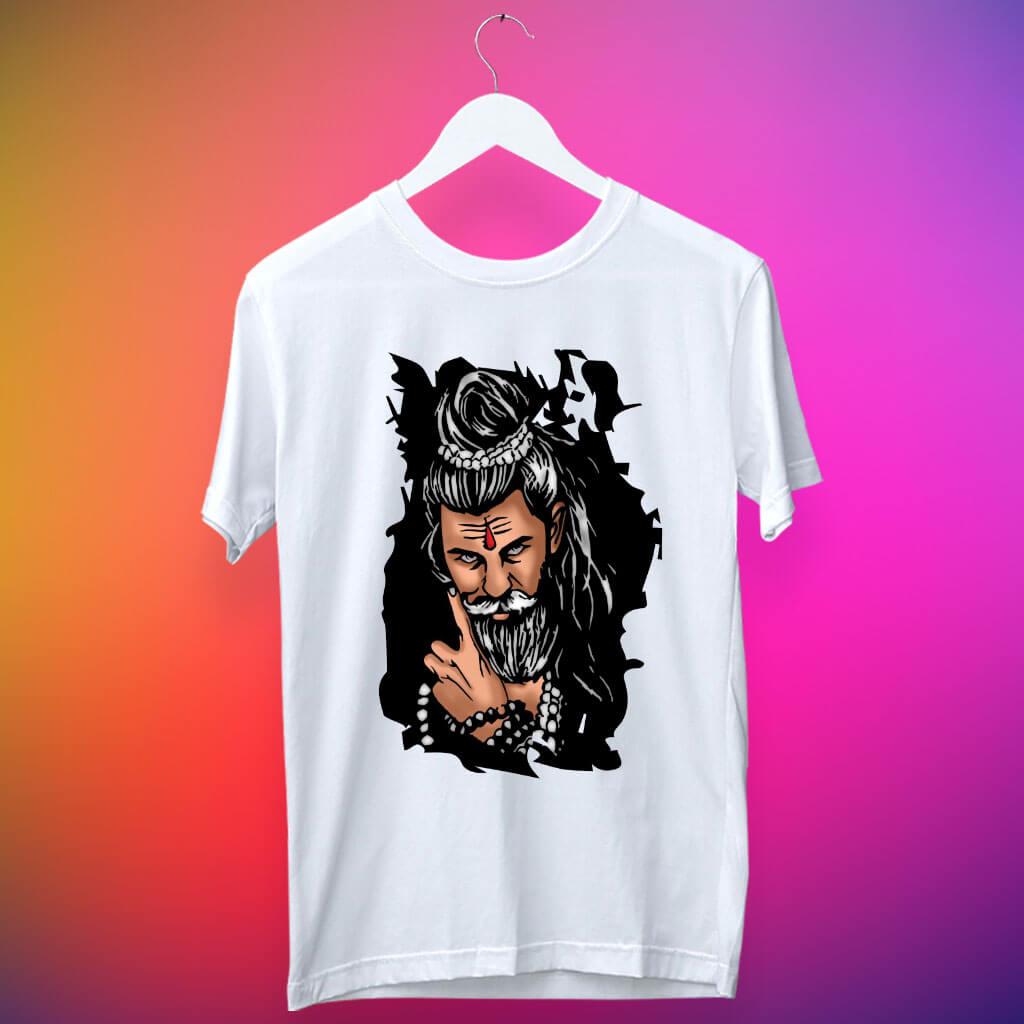 Best Shiva sketch printed white t shirt