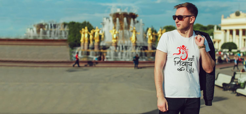 Best art Ganeshaa with OM Namah Shivay t shirt for men online