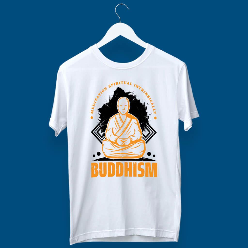 Buddhism painting white t shirt