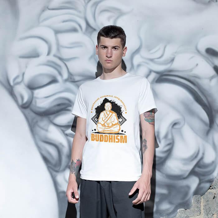 Buddhism painting white t shirt(2)