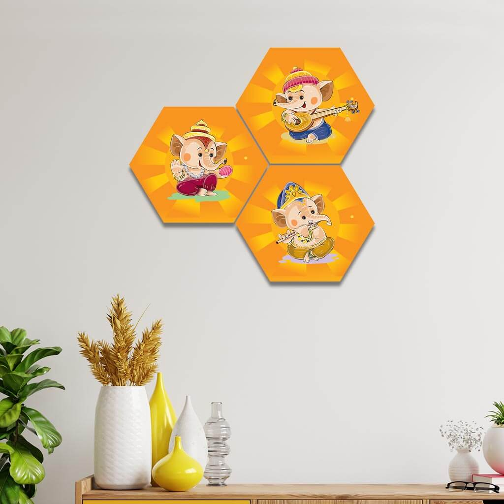 Hexagon Ganesha Clipart Home Decor