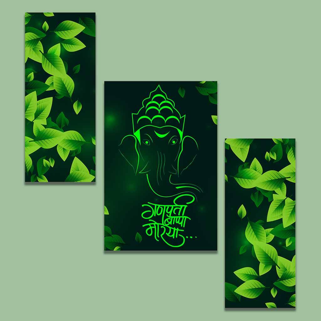 ganesha green wall painting