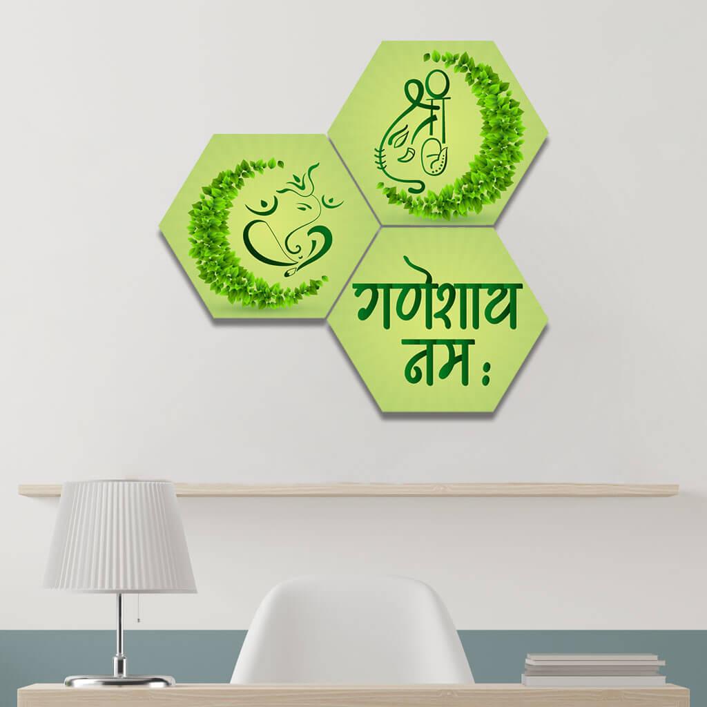 Ecofriendly Lord Ganesha Hexagon Green Pattern Wall Painting Home Decor
