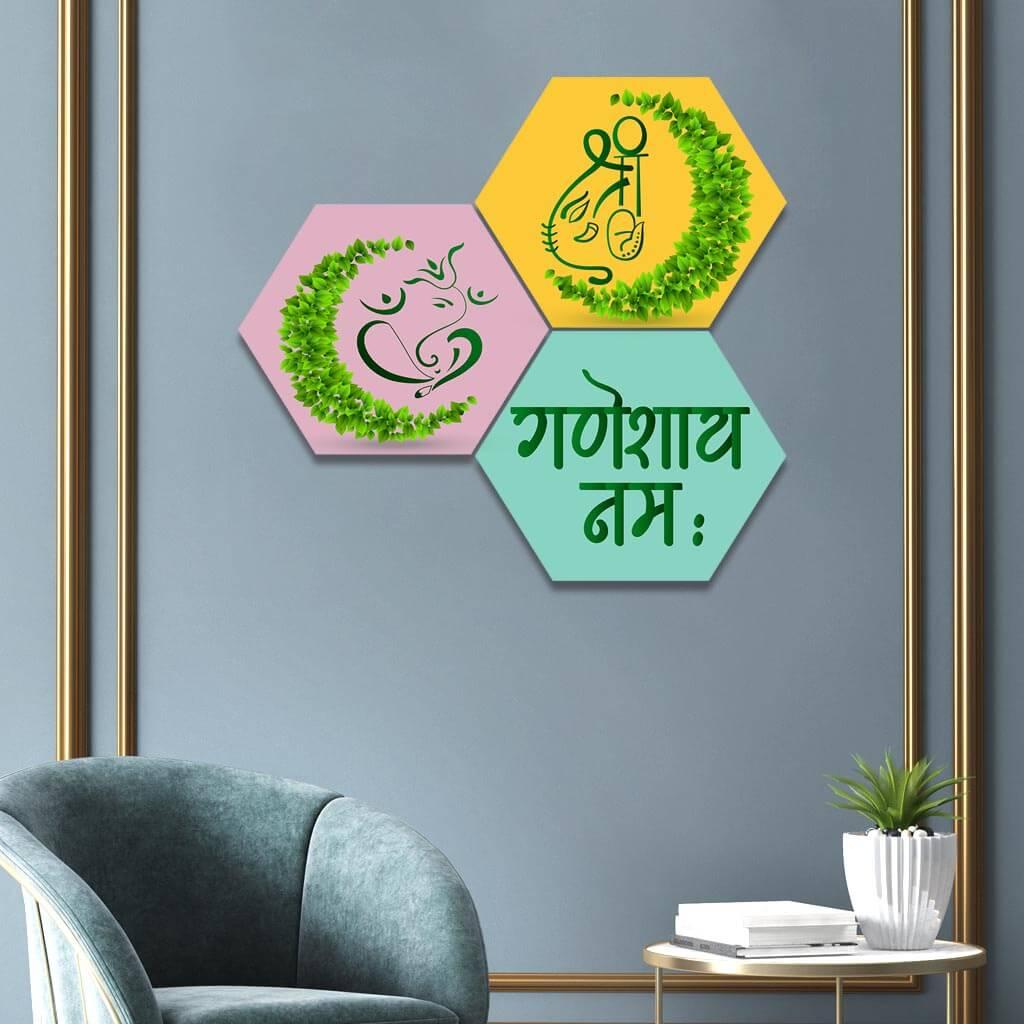 Ecofriendly Lord Ganesha Hexagon Wall Painting Home Decor