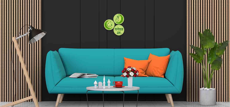 Ecofriendly lord ganesha Circle Green Pattern 3 Piece 1500x700