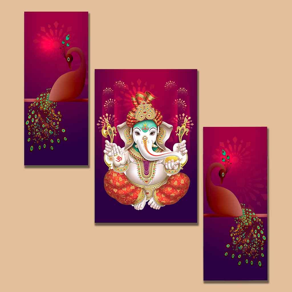 peacocks and lord ganesha wall painting