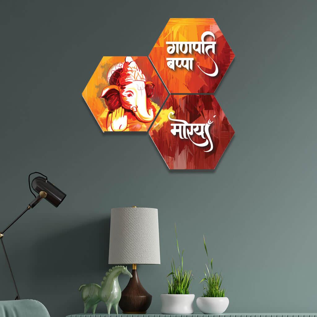 Ganpati Bappa Morya Lord Ganesha Red Pattern Home Decor