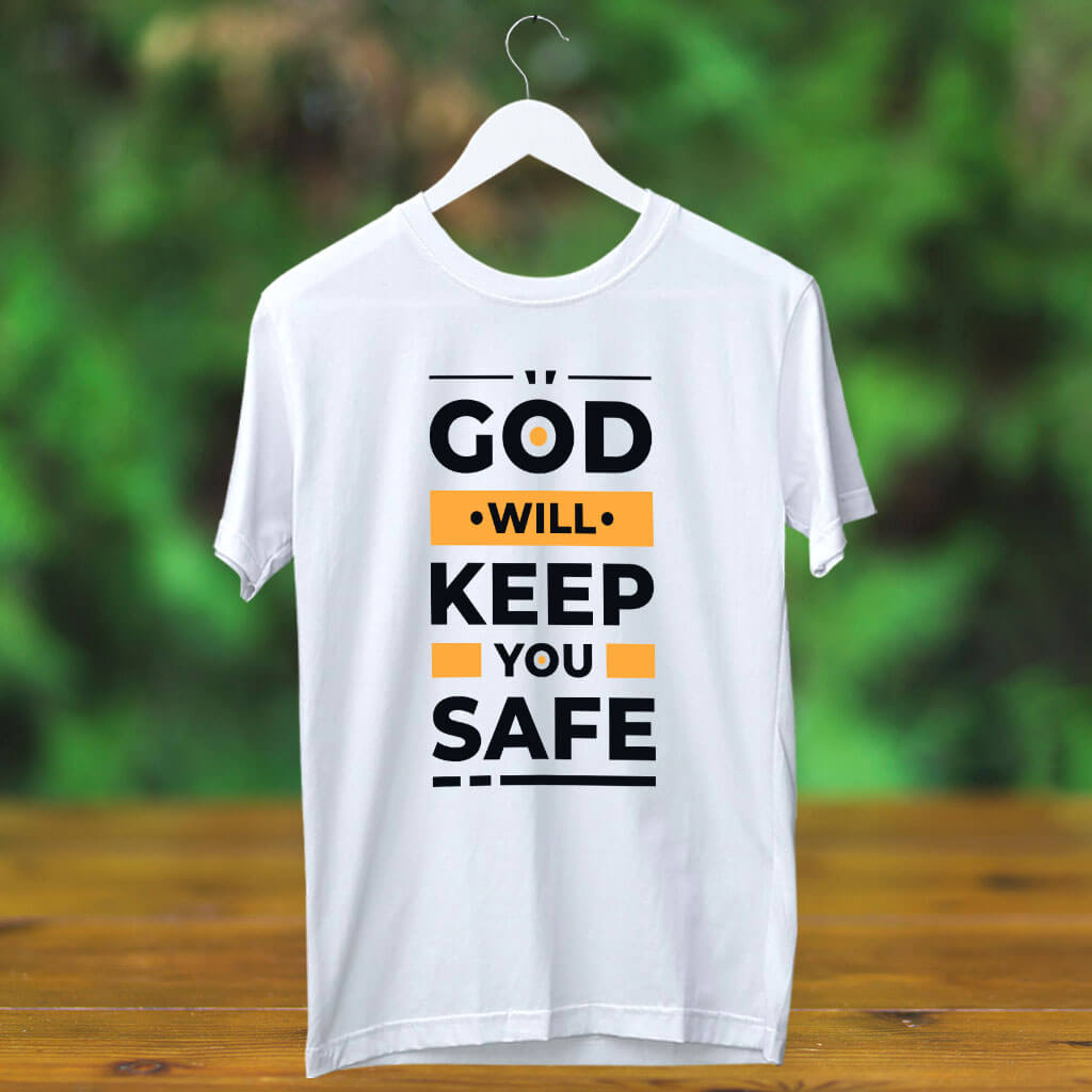 God quotes text on t shirt