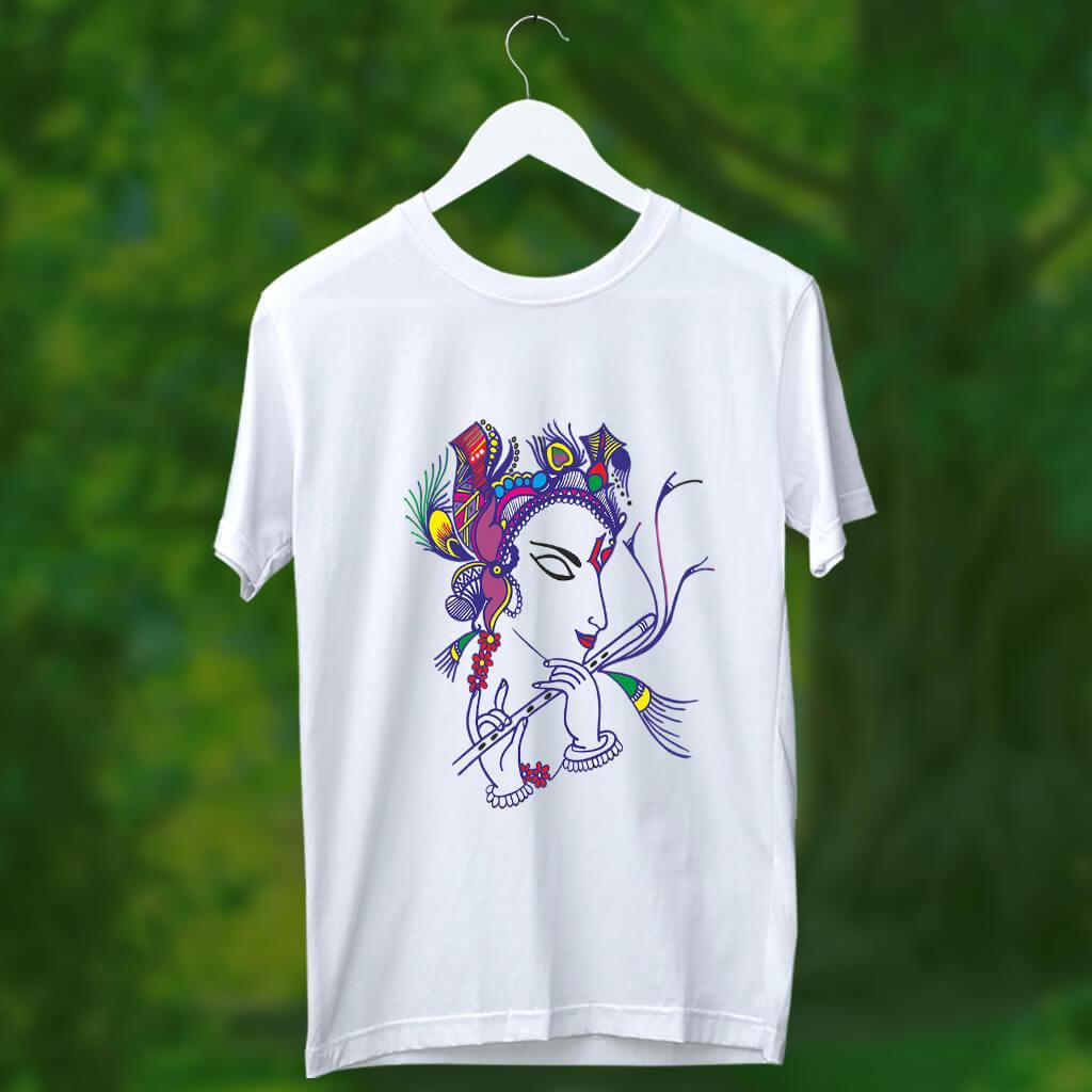 Krishna painting white t shirt for mens