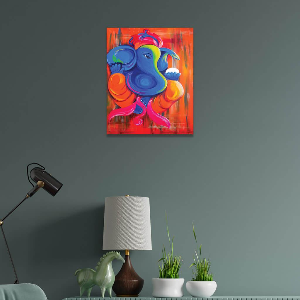 Lord Ganesha Painting Single Frame Wall Painting Home Decor