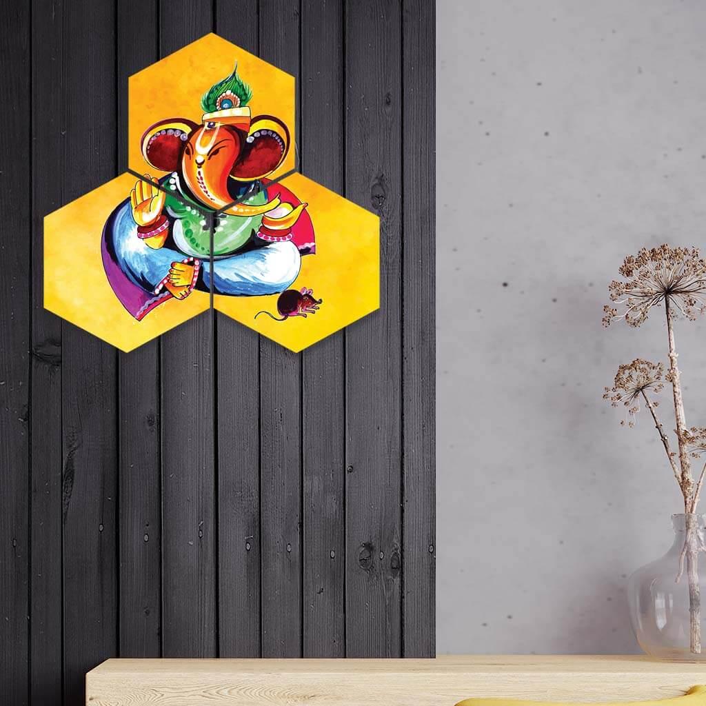 Paintart Hexagon Ganesha Wall Painting Home Decor