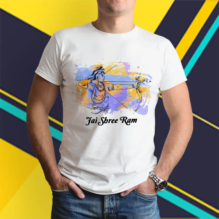 Lord Ram painting with quotes round neck white t shirt