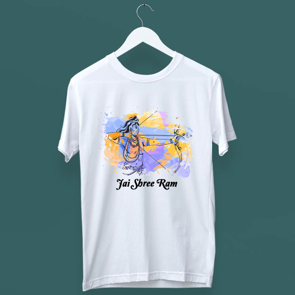 Lord Ram painting with quotes white t shirt