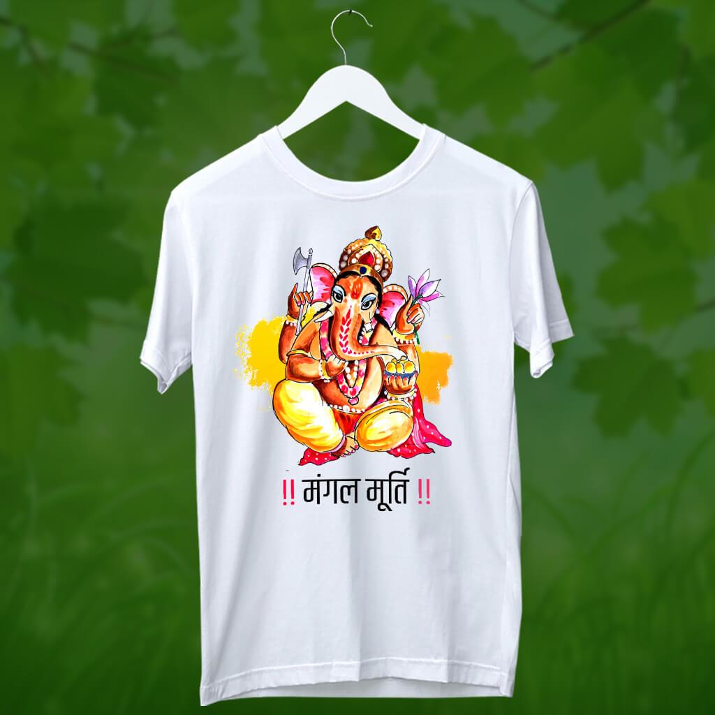 Mangal Murti Ganesh painting t shirt for men online