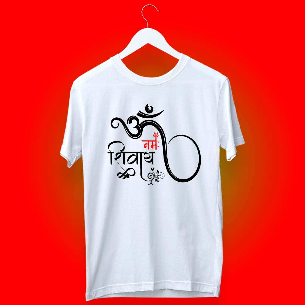 Om Namah Shivay Art Designed Long T Shirt For Men