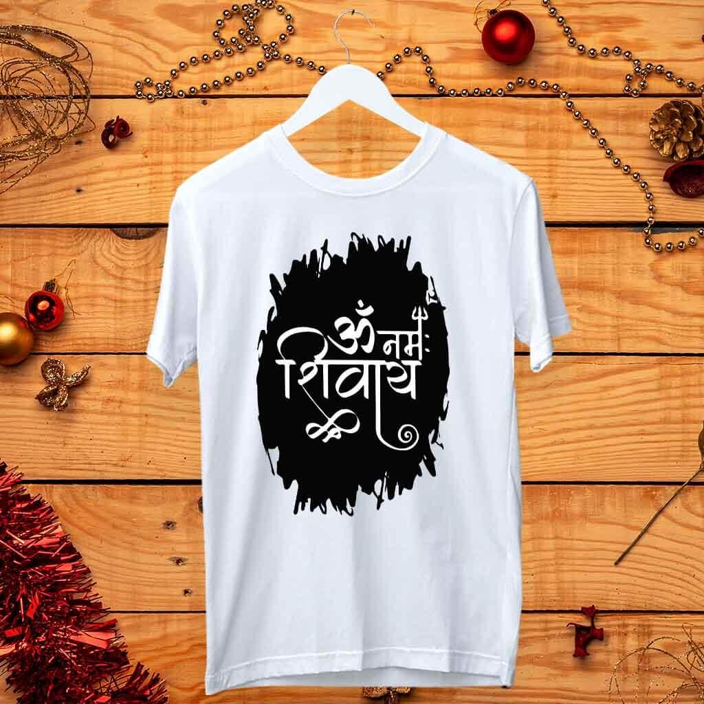 Om Namah Shivay printed white t shirt for men