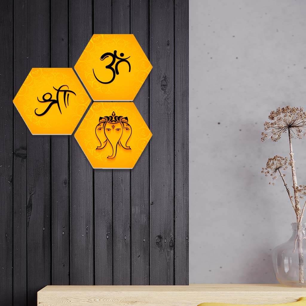 Shri Om Ganesh Vector Hexagon 3 Piece Wall Painting Home Decor