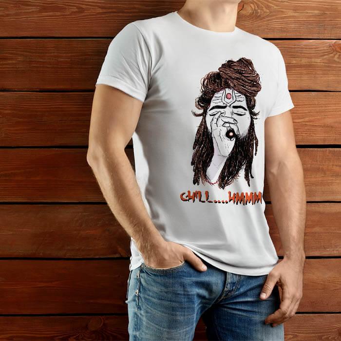 Shiva Aghori round neck white t shirt