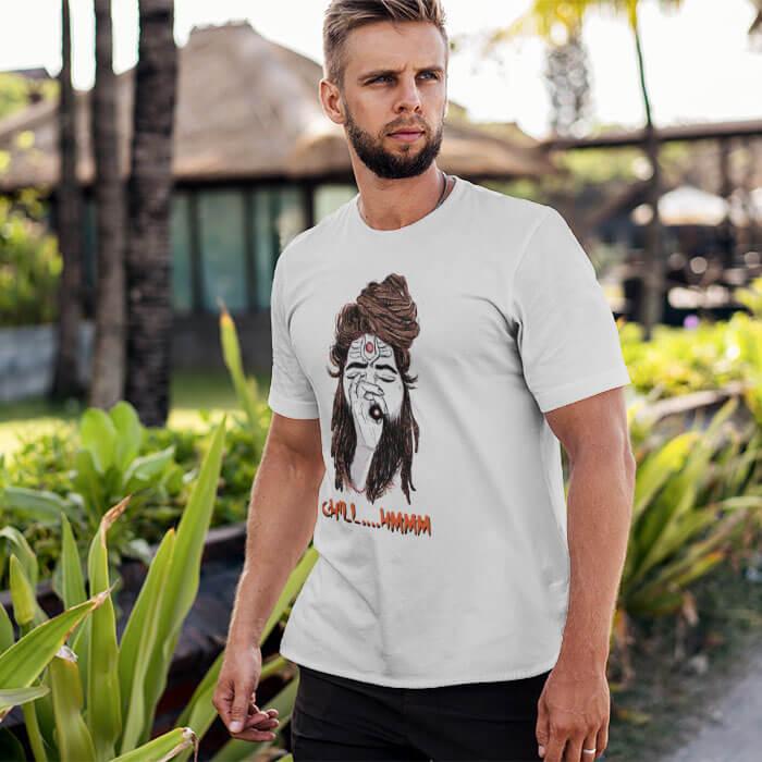 Shiva Aghori white round neck t shirt