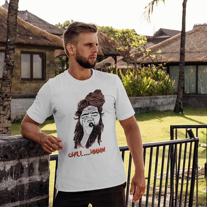 Shiva Aghori white t-shirt for men