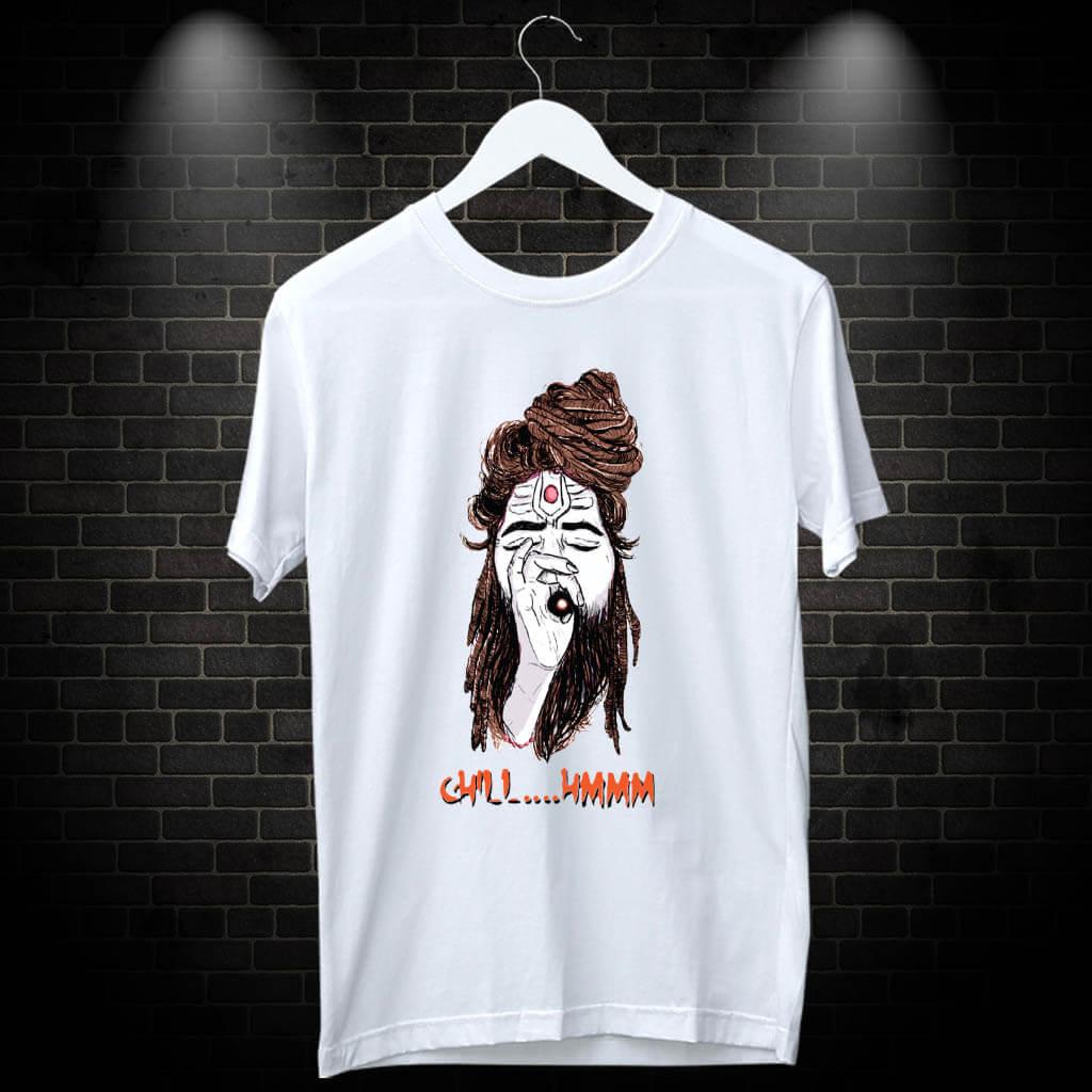 Shiva Aghori white t shirt for men