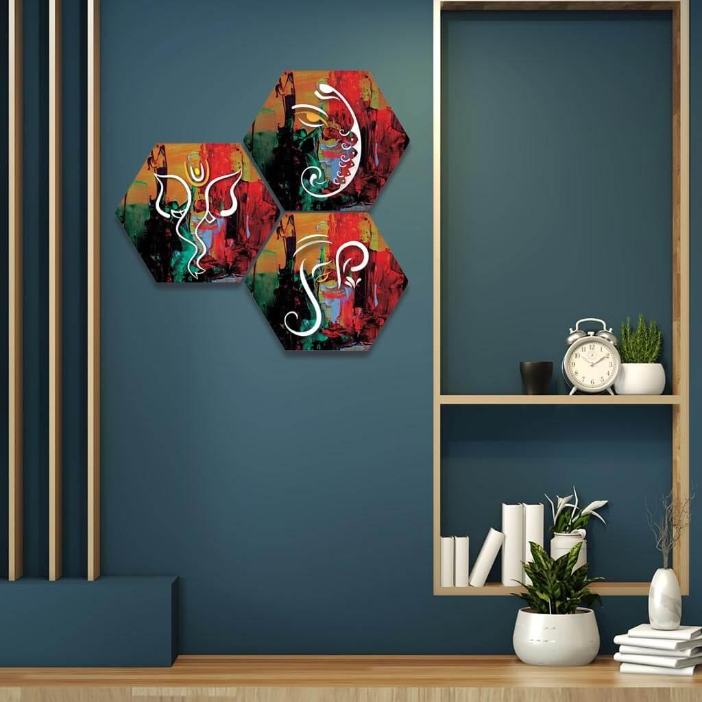 Vector Ganesha Hexagon 3 Piece Wall Painting Home Decor